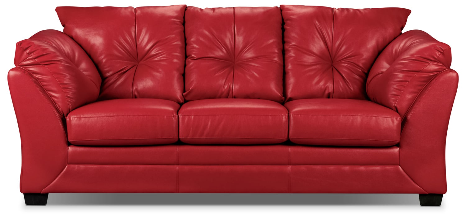 max faux leather sofa red the brick
