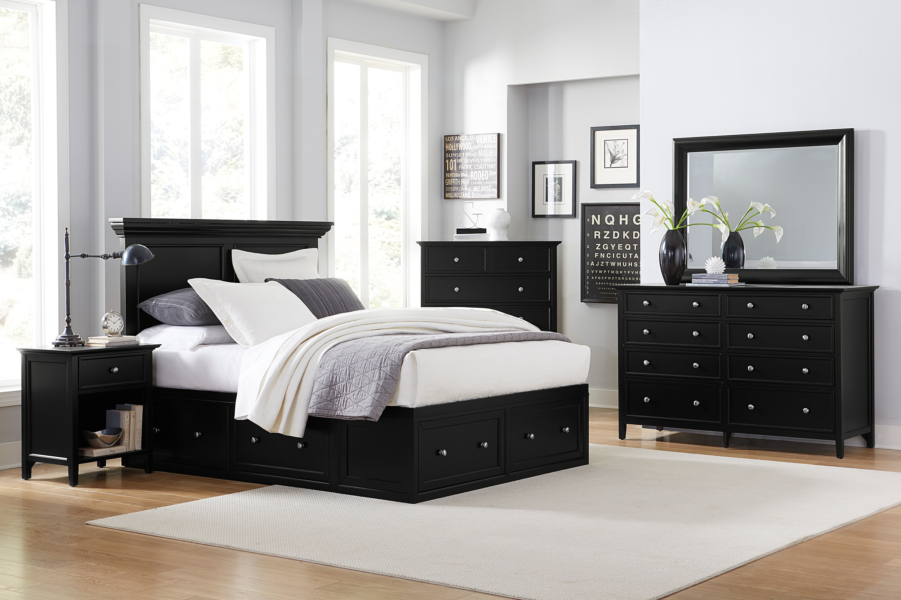 ellsworth 4 piece king storage bedroom set black levin 12080 | 539886