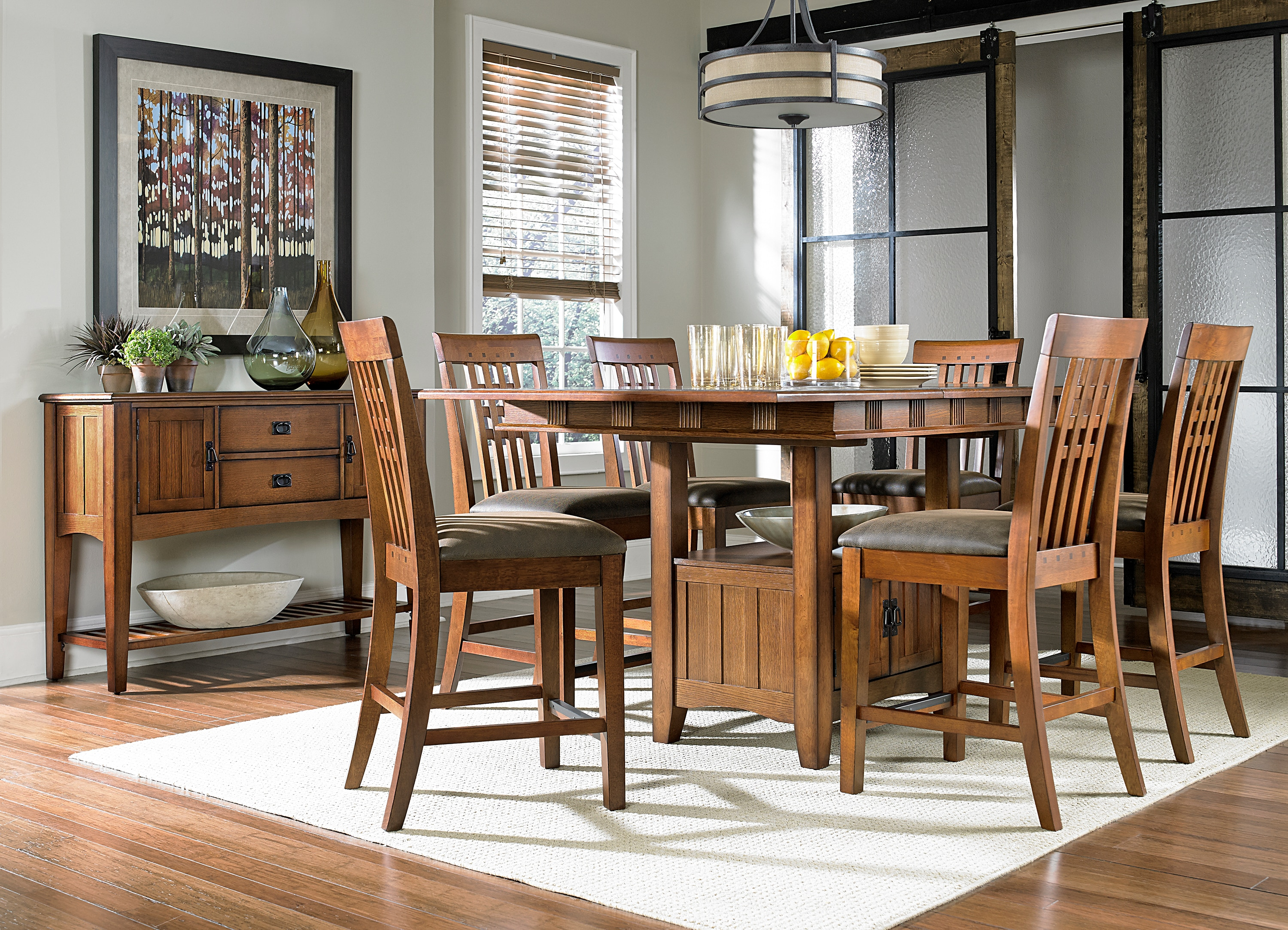 Oak Park Counter-Height Table and Four Stools - Oak