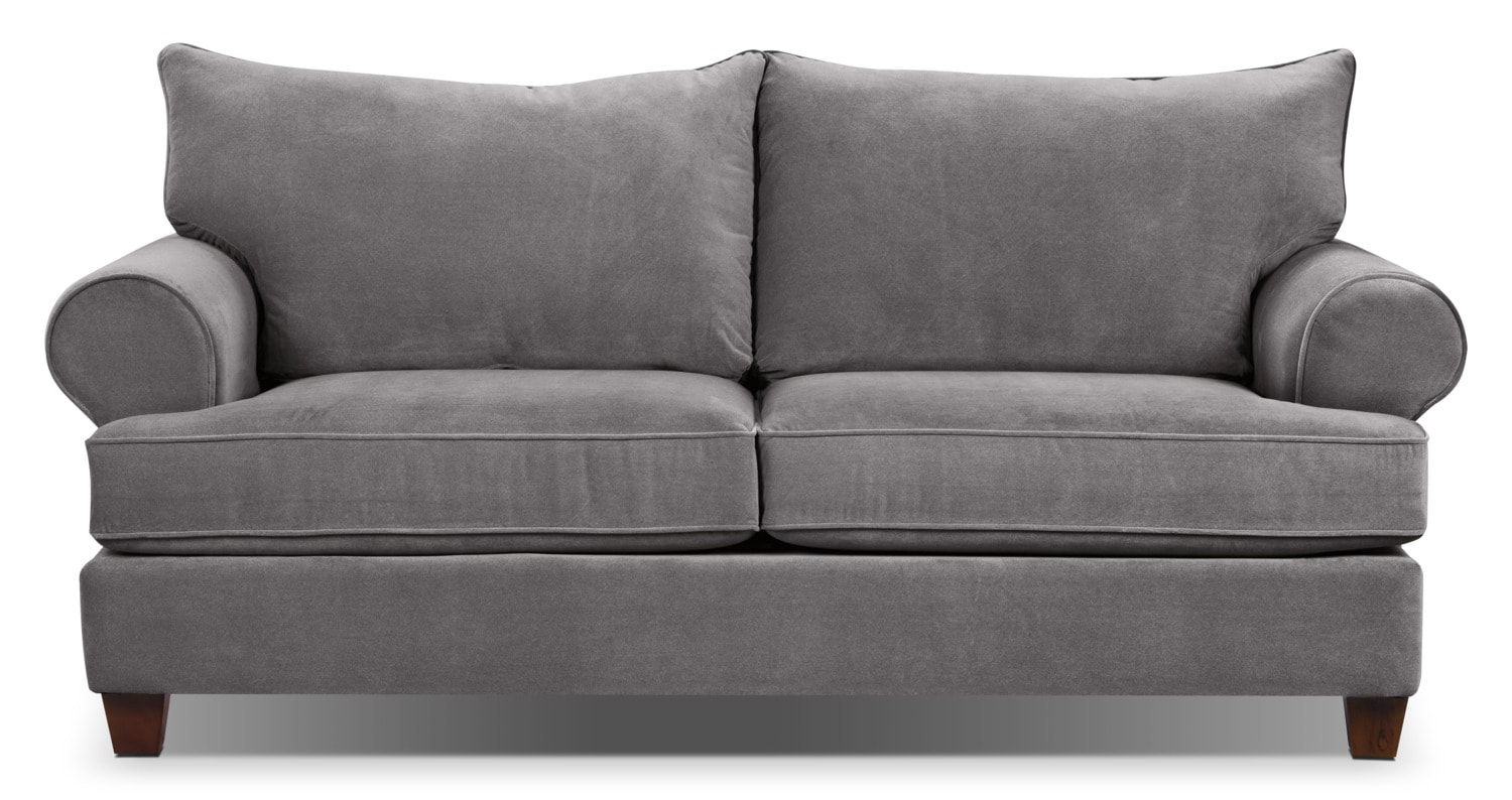 Paige microsuede sofa grey united furniture warehouse for Grey microsuede sectional sofa