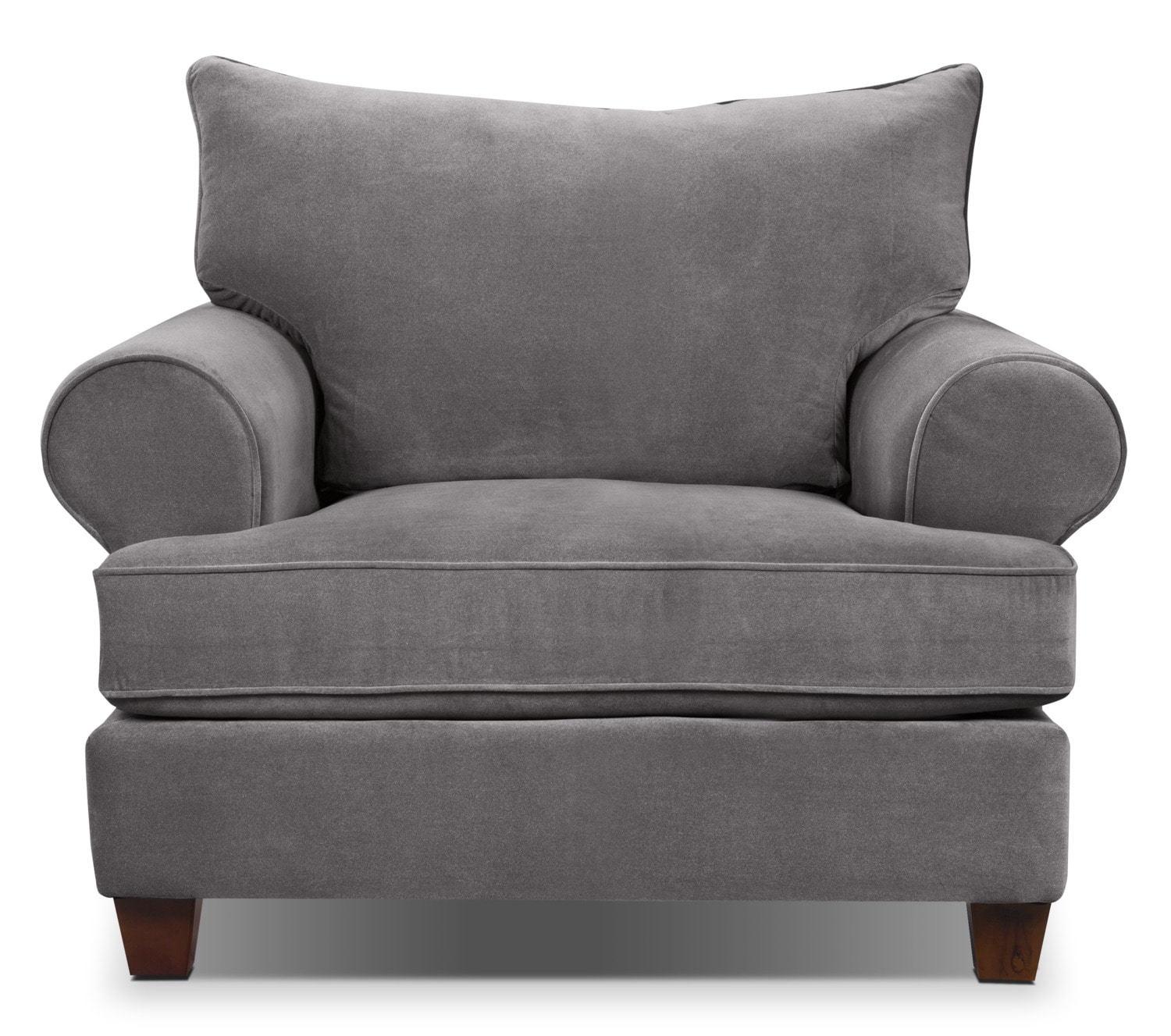 Living Room Furniture - Paige Microsuede Chair - Grey