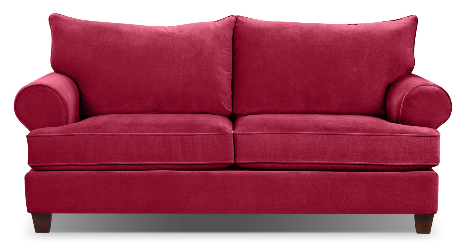 Paige microsuede sofa red the brick for Sofa bed the brick