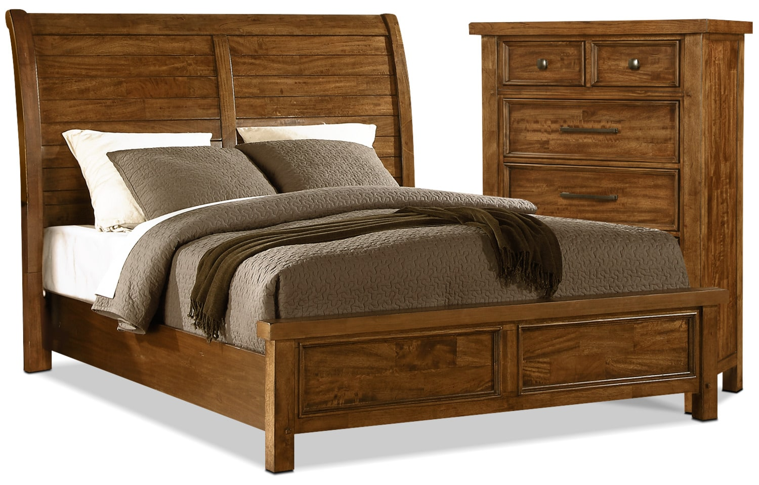 Sonoma 4 Piece Queen Bed And Chest Package Medium Brown United Furniture Warehouse