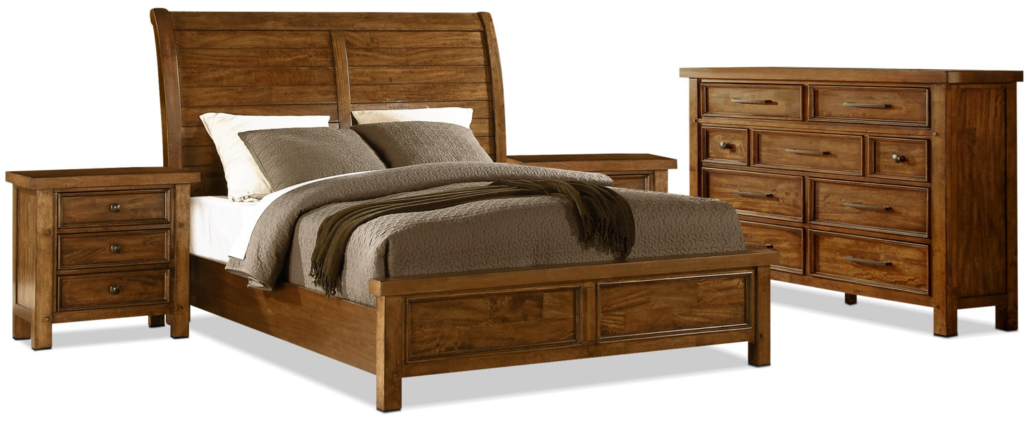 Sonoma 6-Piece Queen Bedroom Package with 2 Nightstands – Medium Brown