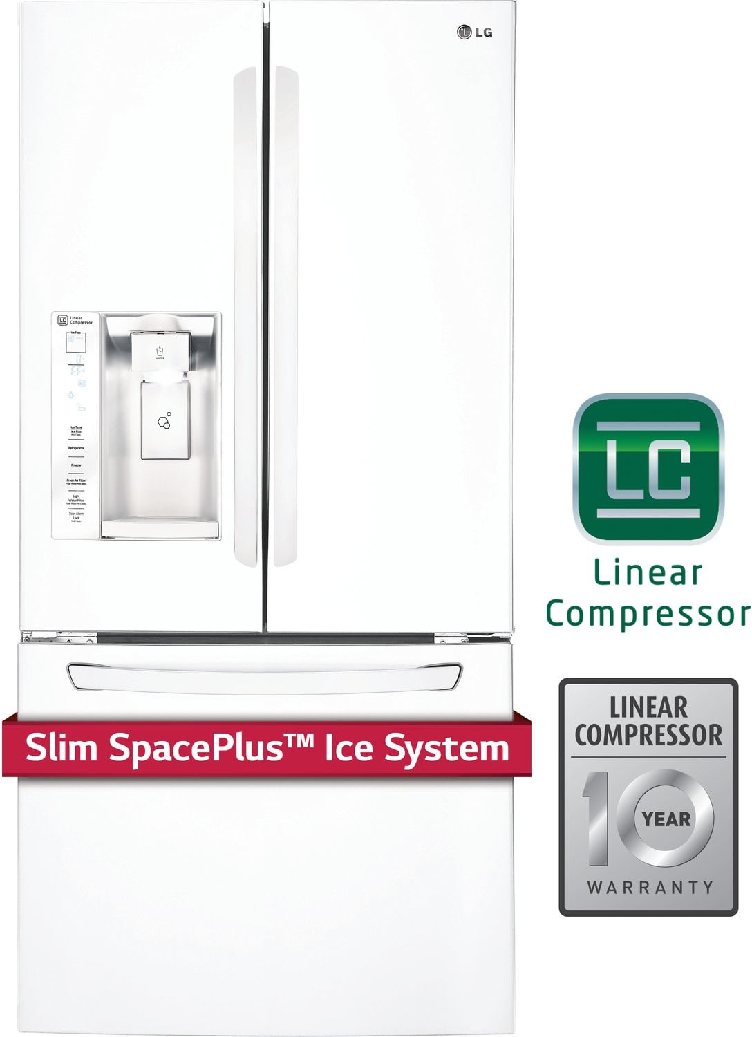 Refrigerators and Freezers - LG White French Door Refrigerator (24 Cu. Ft.) - LFXS24623W