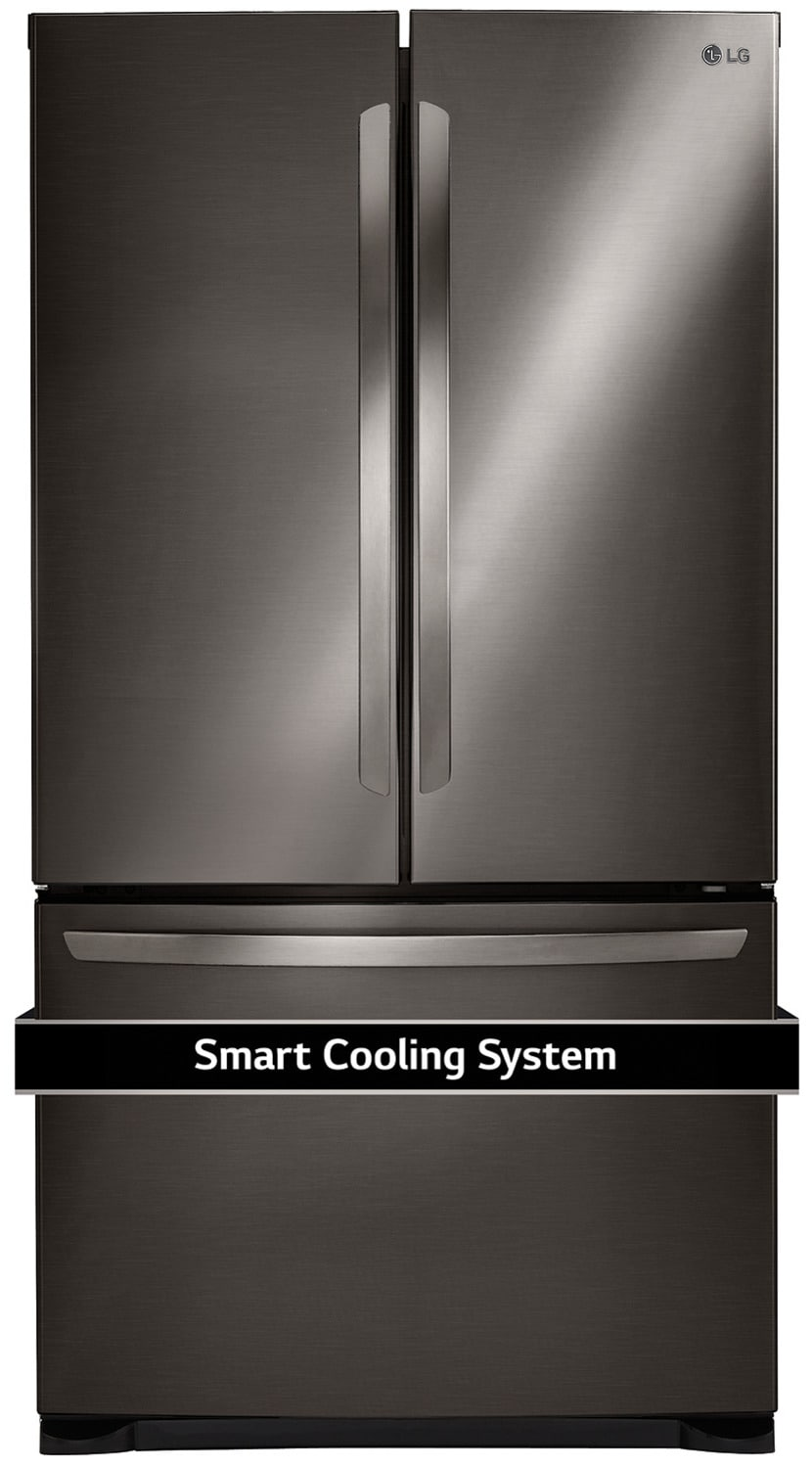 Refrigerators and Freezers - LG Black Stainless Steel French Door Refrigerator (21.8 Cu. Ft) -LFNS22520D