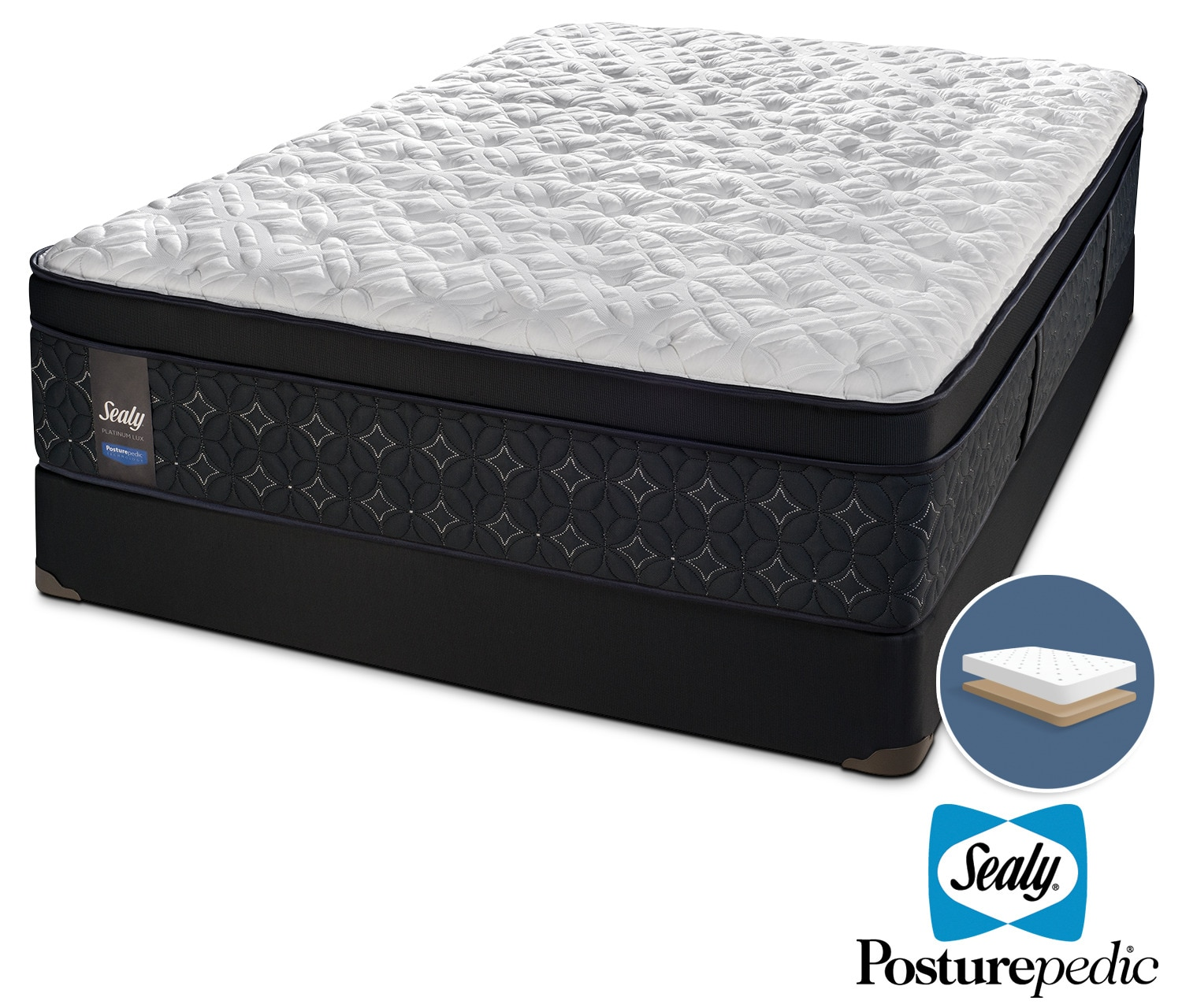 Sealy After Dusk Plush Queen Mattress and Low-Profile Boxspring Set