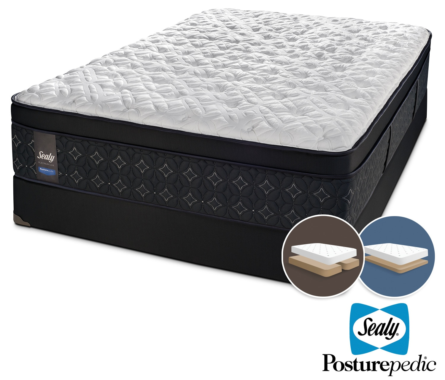 Mattresses and Bedding - Sealy After Dusk Firm King Mattress and Split Low-Profile Boxspring Set