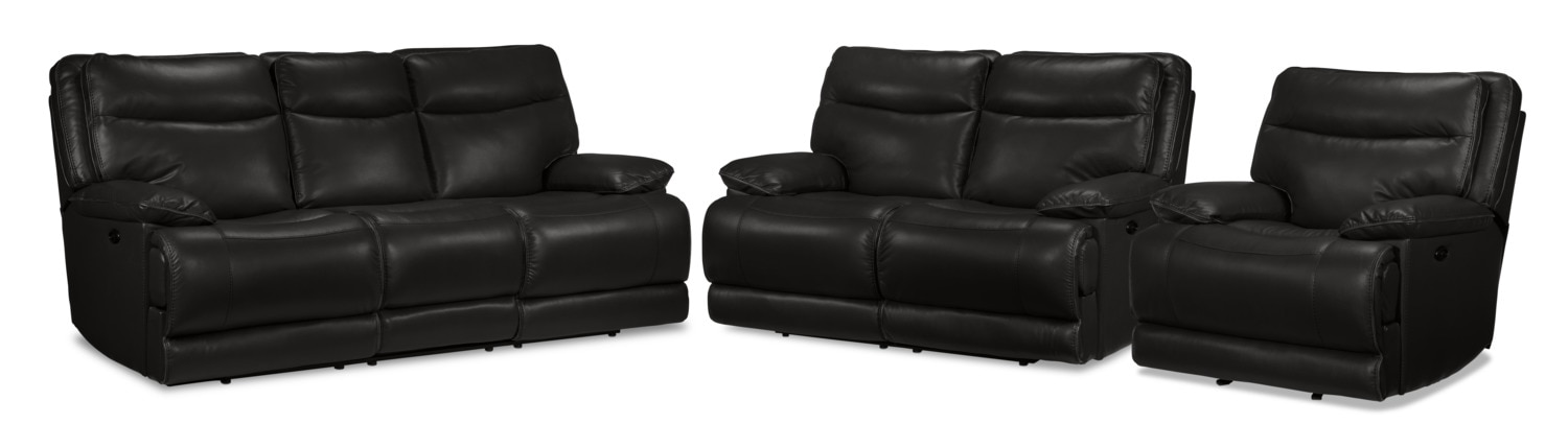 Lanette Power Reclining Sofa, Reclining Loveseat and Recliner Set - Black