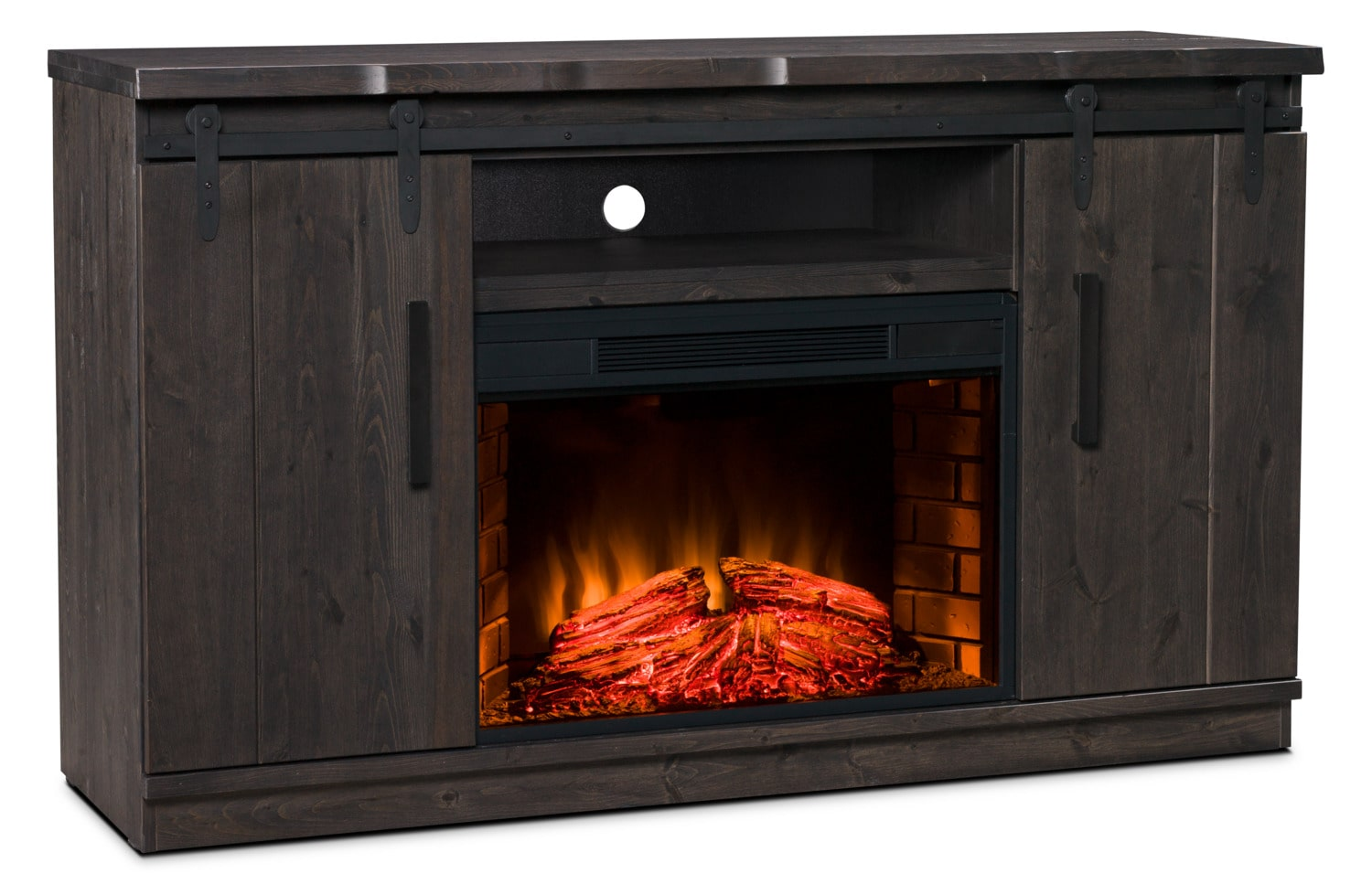 "Entertainment Furniture - Bryson 59"" TV Stand with Log Firebox – Onyx"