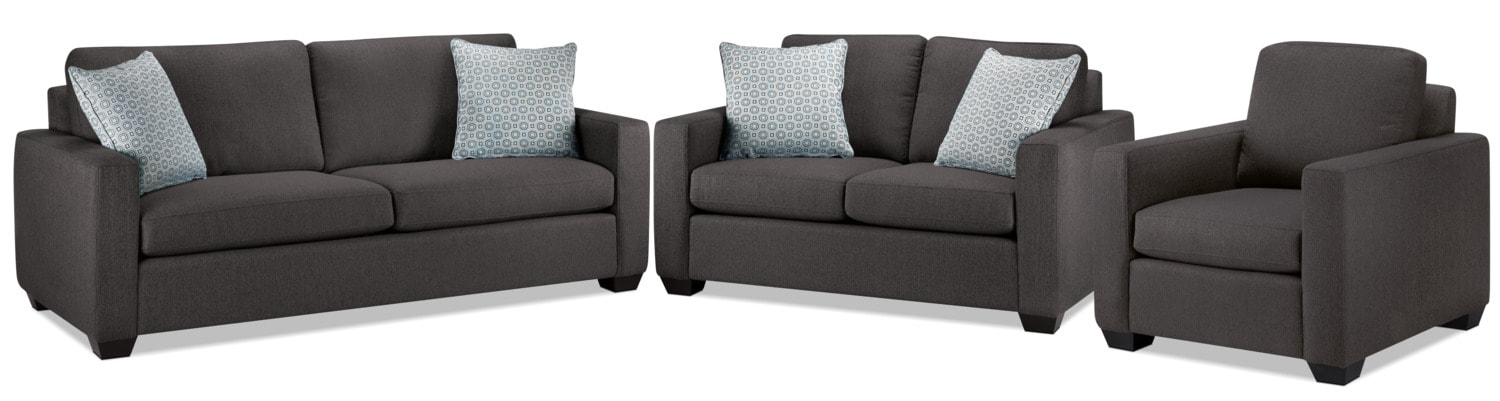 Hilary Sofa, Loveseat and Chair Set - Charcoal