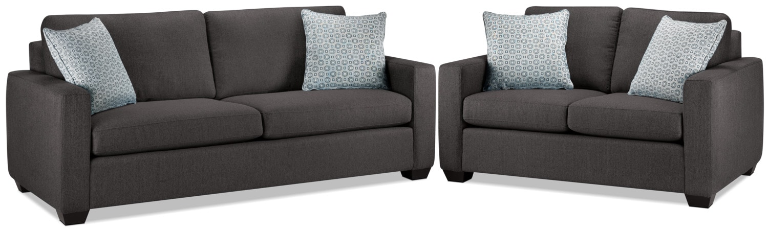 Hilary Sofa and Loveseat Set - Charcoal
