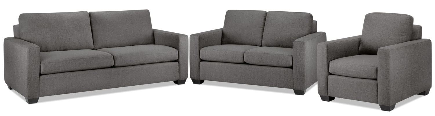Hilary Sofa, Loveseat and Chair Set - Grey