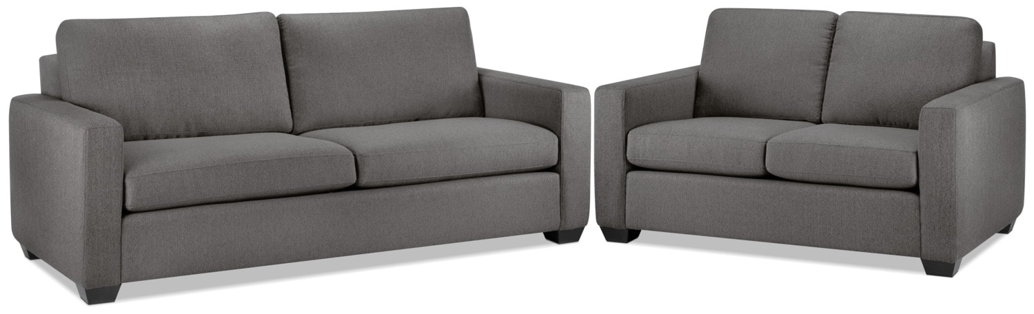 Hilary Sofa and Loveseat Set - Grey
