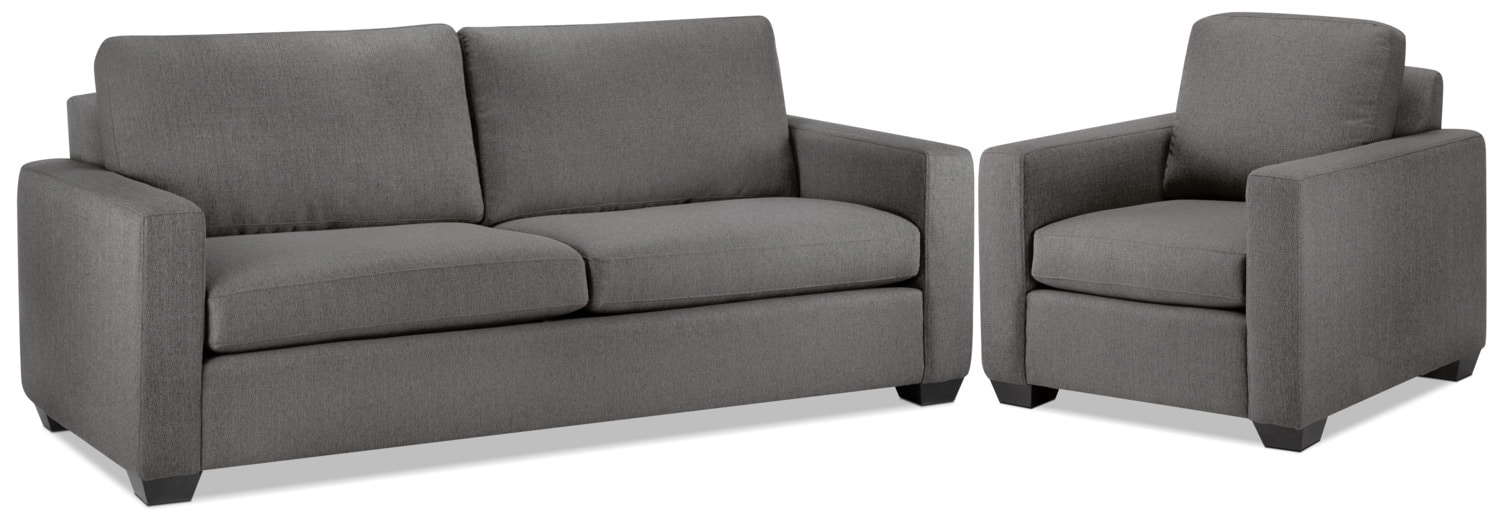 Hilary Sofa and Chair Set - Grey