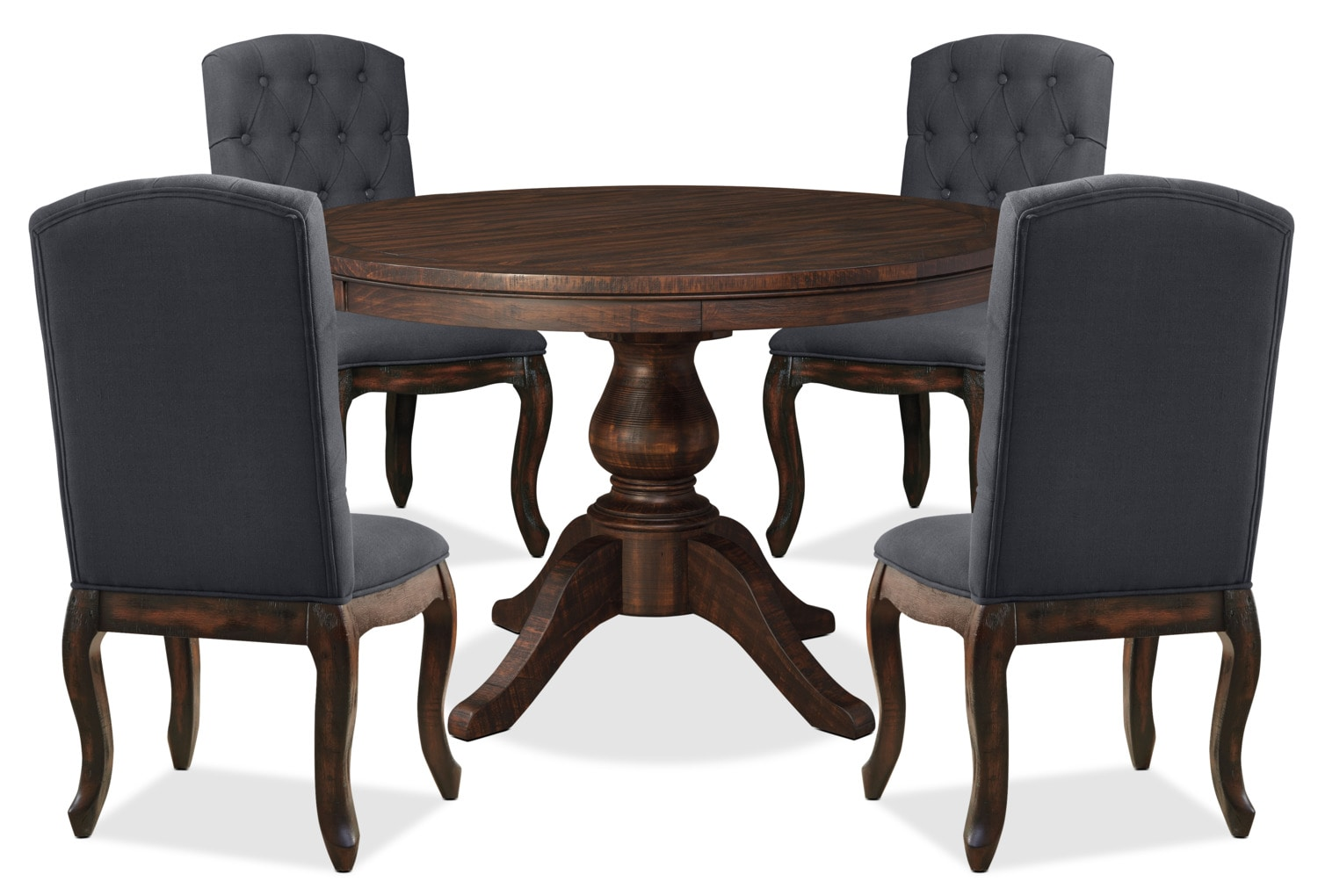 Dining Room Furniture - Trudell 5-Piece Round Dining Package with Upholstered Chairs