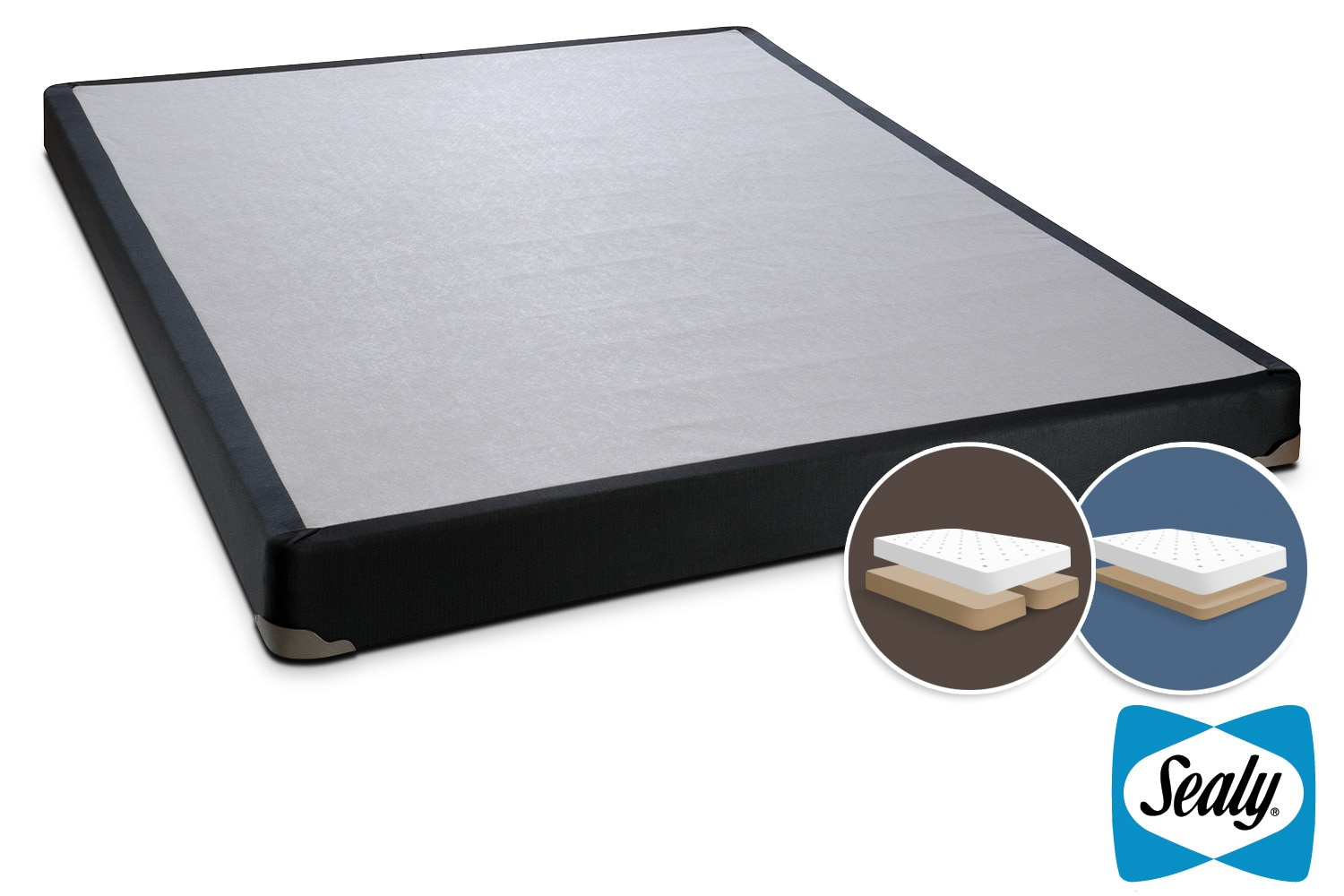 Mattresses and Bedding - Sealy Charcoal Luxe King Split Low-Profile Boxspring