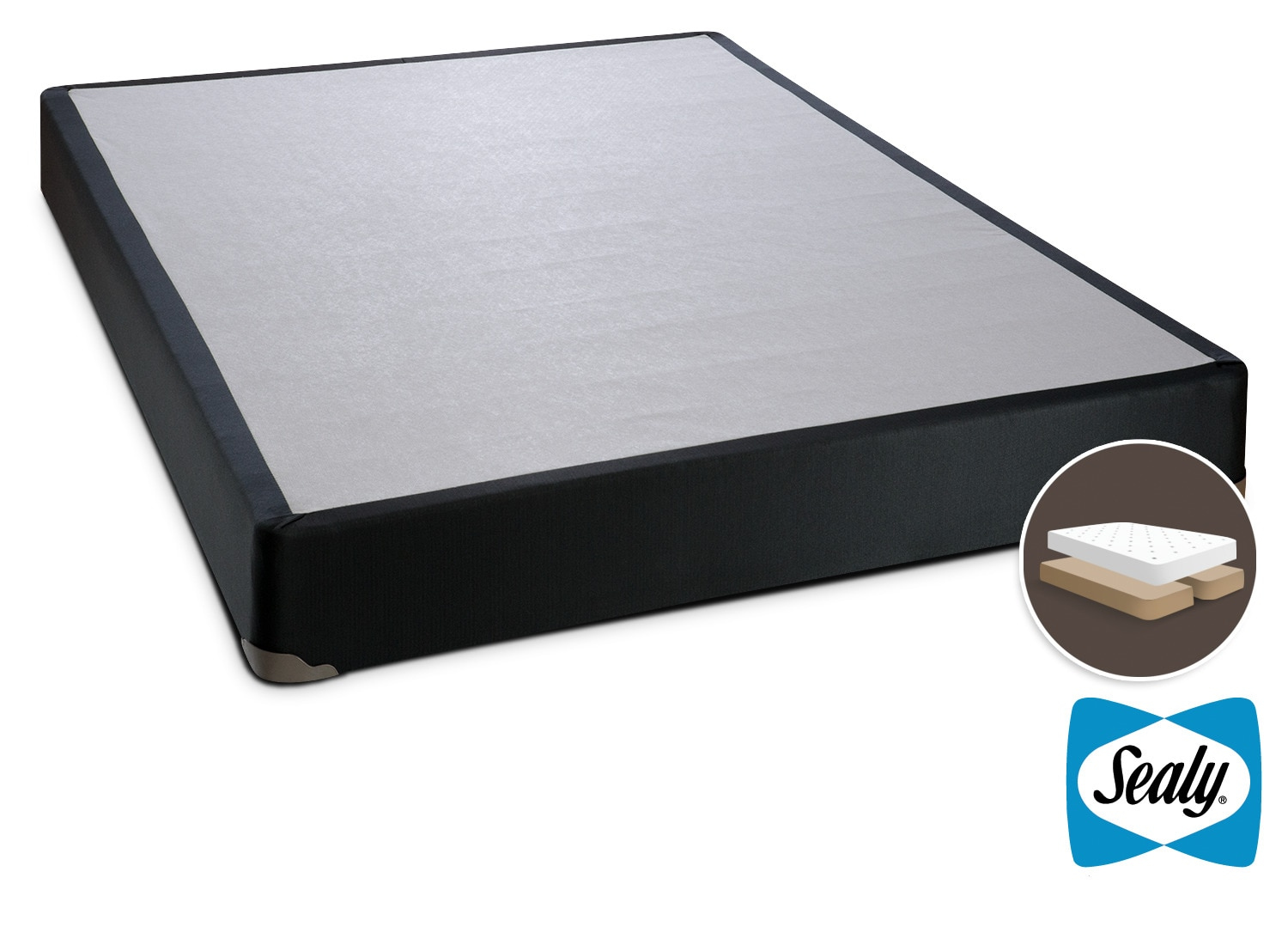 Matelas et sommiers - Sealy Charcoal Luxe Demi-sommier très grand