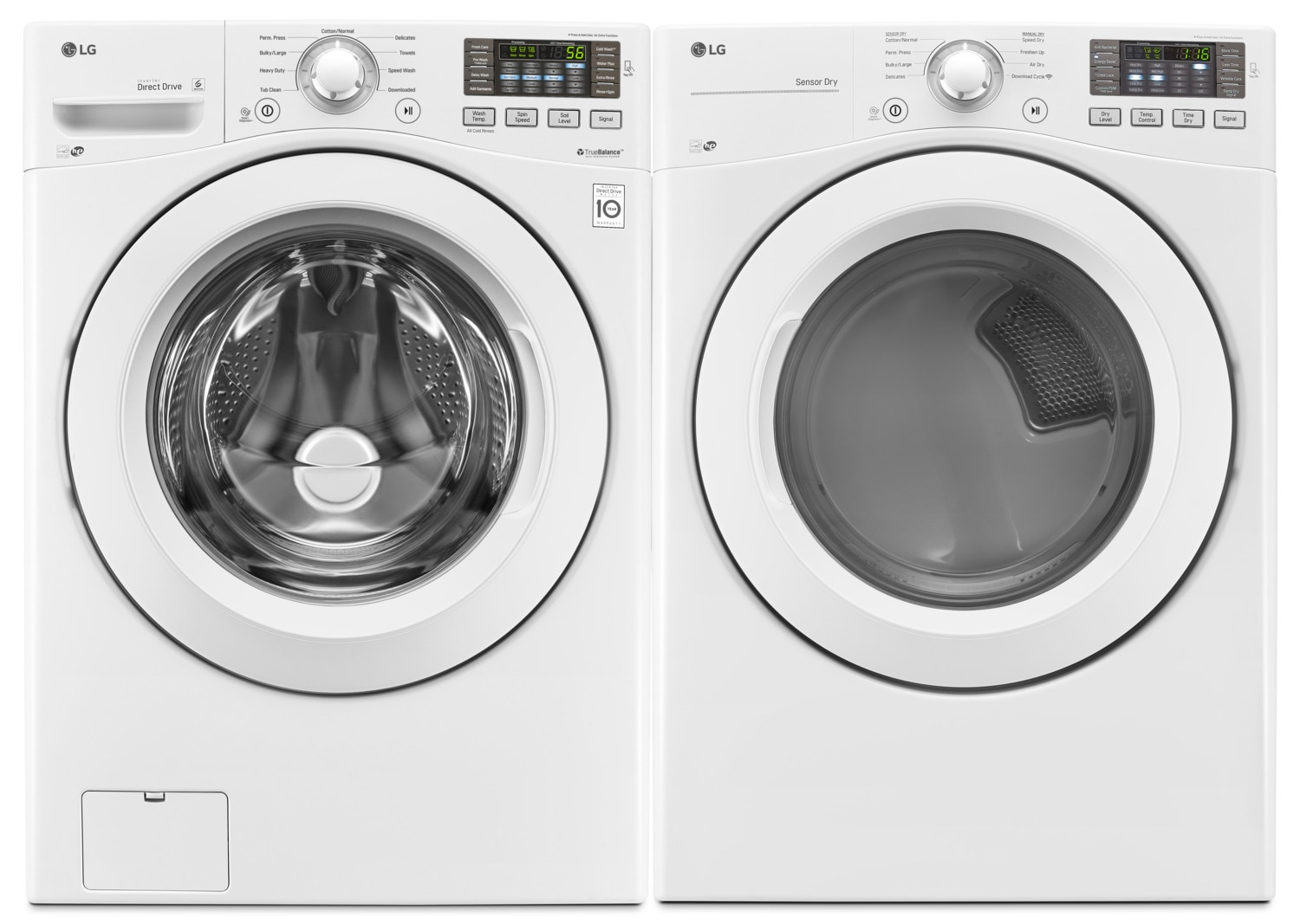 LG 5.2 Cu. Ft. Ultra-Large Capacity Front-Load Washer and Electric Dryer