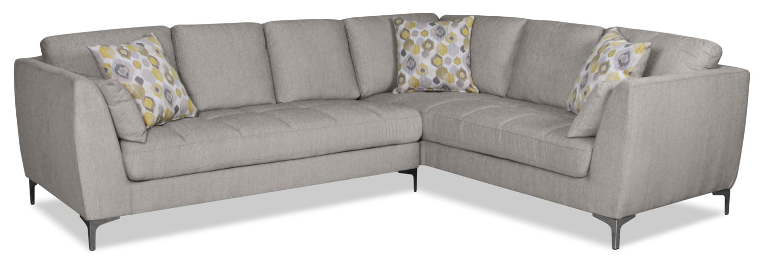 Knox 2-Piece Linen-Look Fabric Left-Facing Sectional – Mystic Fog