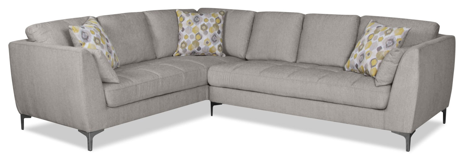 Knox 2-Piece Linen-Look Fabric Right-Facing Sectional – Mystic Fog