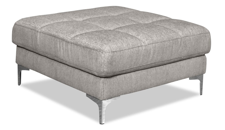 Knox Linen-Look Fabric Ottoman – Mystic Fog