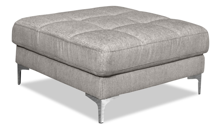 Living Room Furniture - Knox Linen-Look Fabric Ottoman – Mystic Fog