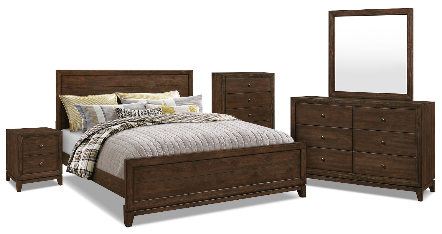 Tacoma 7 piece king bedroom package the brick for Bedroom furniture package deals