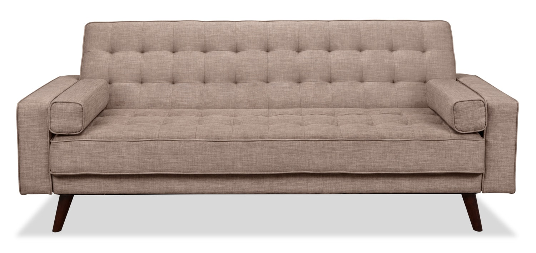 Avery Linen-Look Fabric Futon – Grey