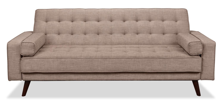 Living Room Furniture - Avery Linen-Look Fabric Futon – Grey