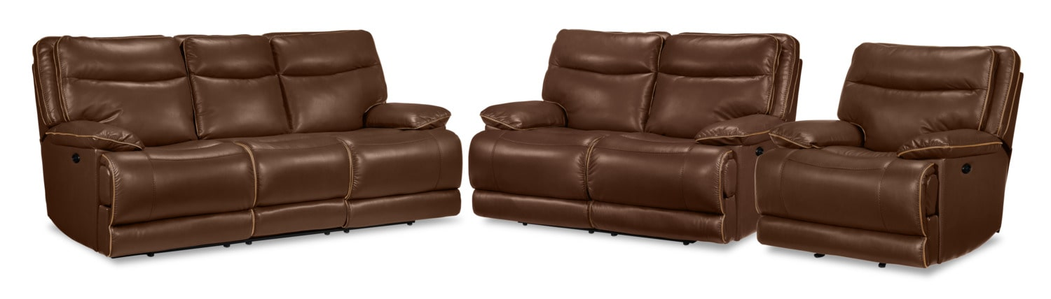 Lanette Power Reclining Sofa, Reclining Loveseat and Recliner Set - Dark Brown