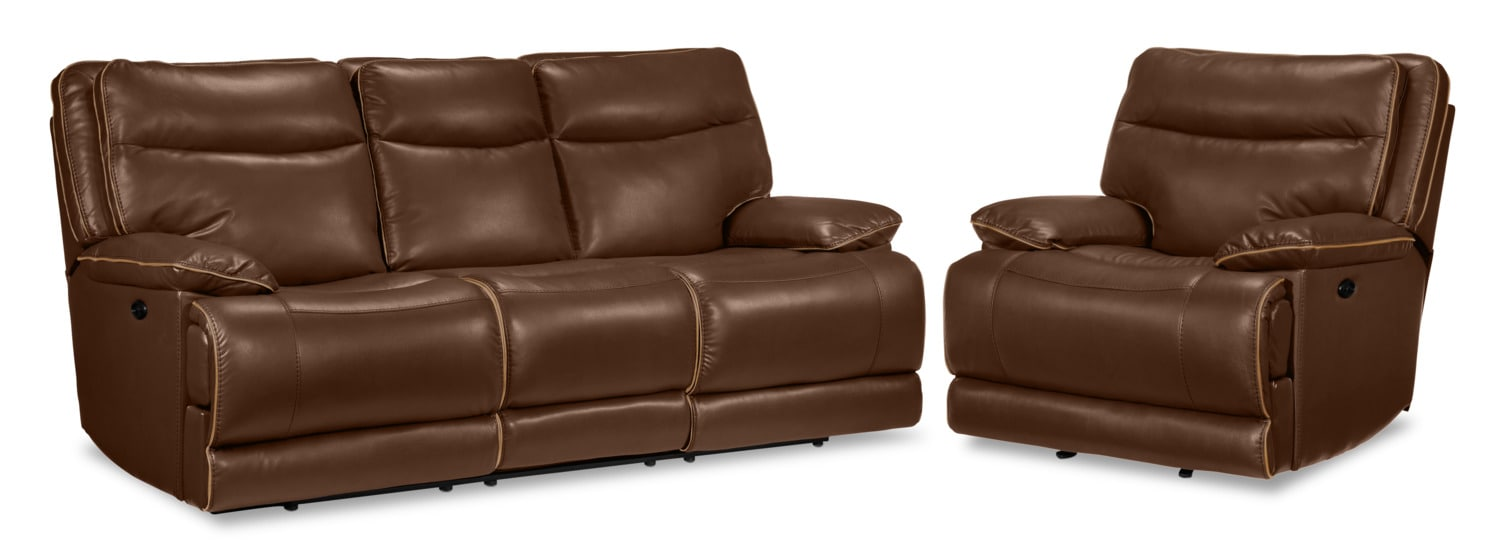 Lanette Power Reclining Sofa and Recliner Set - Dark Brown