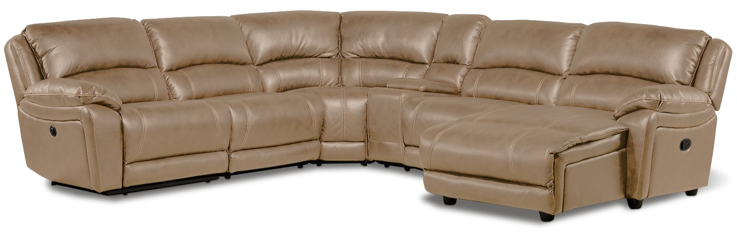 Santorini 6-Piece Power Reclining Sectional with Right-Facing Chaise - Taupe