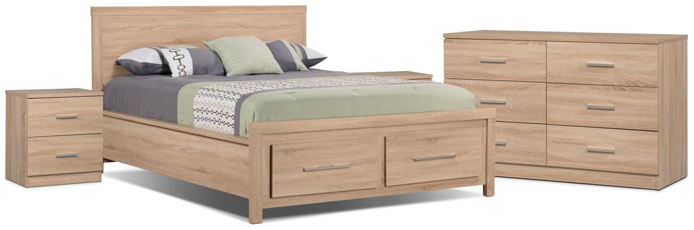 Ensemble de chambre à coucher Sierra 6 pièces avec grand lit et 2 tables de nuit