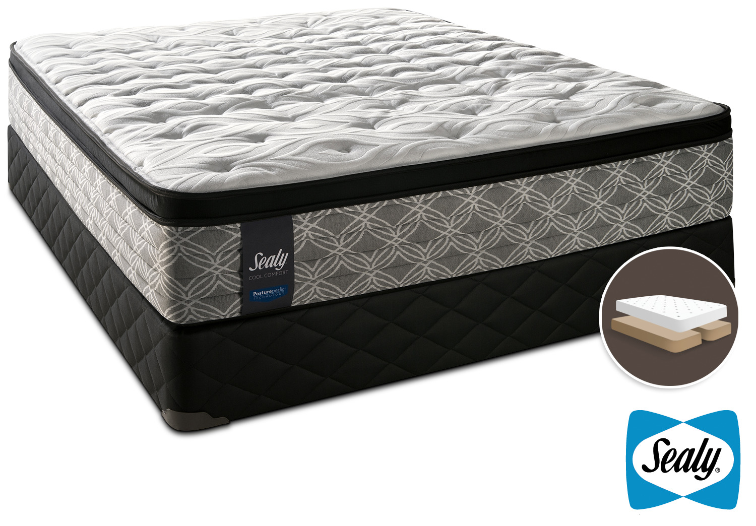 Sealy Super Nova Cushion Firm King Mattress and Split Boxspring Set