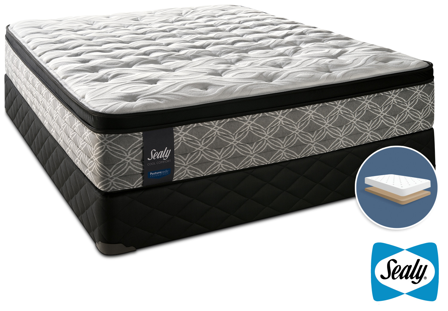 Sealy Super Nova Cushion Firm Queen Mattress and Low-Profile Boxspring Set