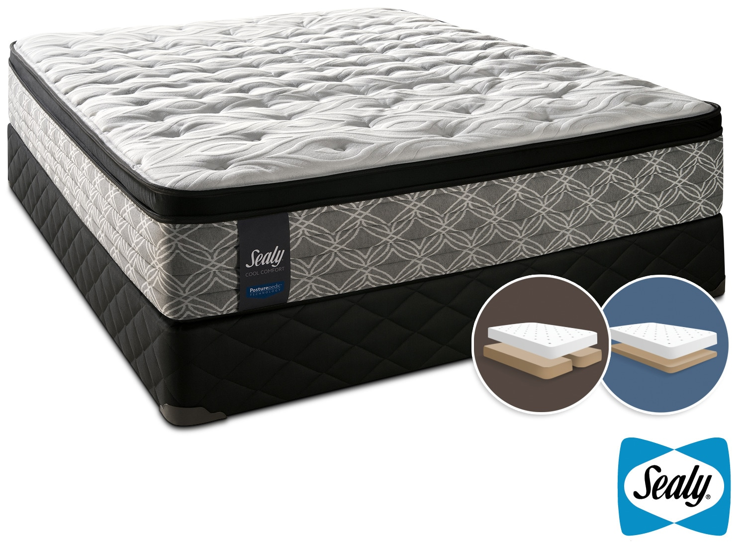 Sealy Super Nova Cushion Firm King Mattress and Low-Profile Split Boxspring Set