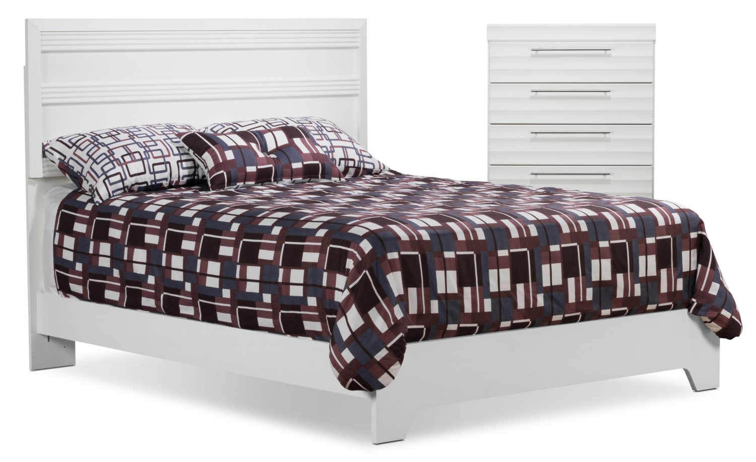 Olivia 4-Piece Queen Bed and Chest Package – White