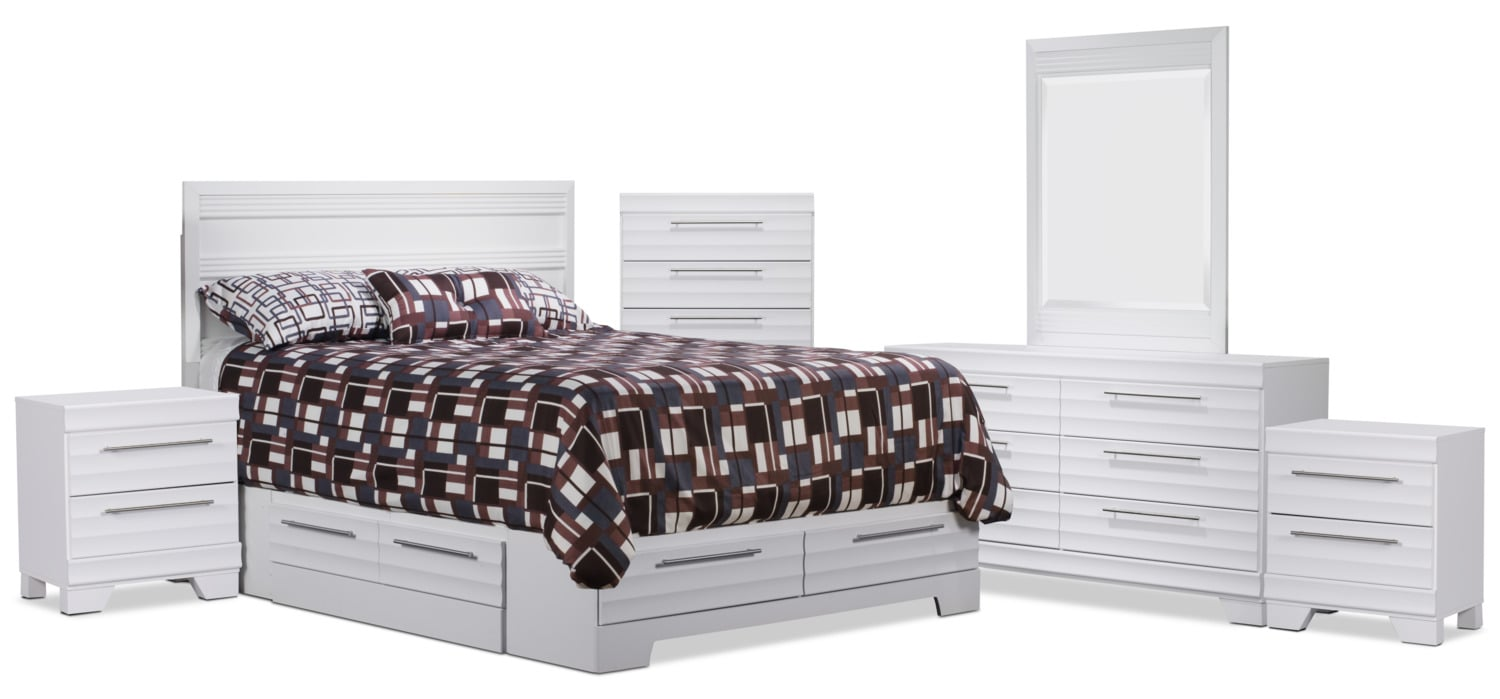 Olivia 8-Piece Queen Storage Bedroom Package – White