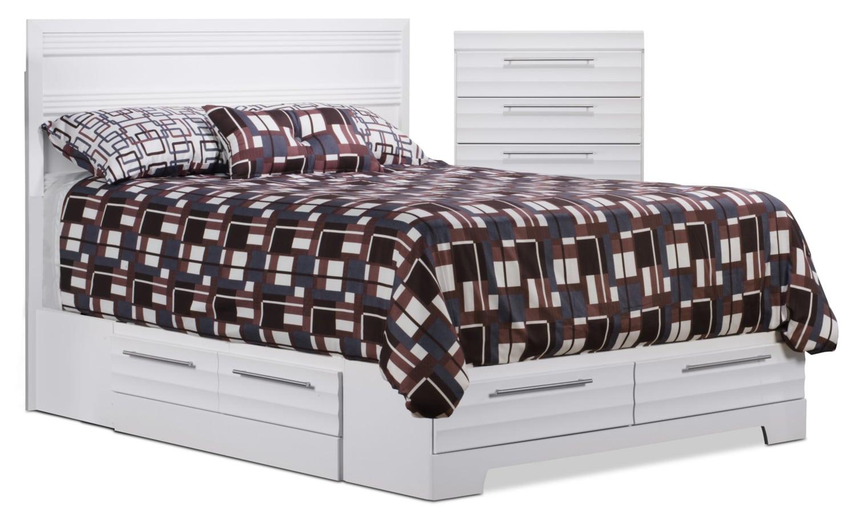 Chambre à coucher - Ens. de chambre à coucher Olivia 4 pièces avec grand lit de rangement et commode verticale - blanc