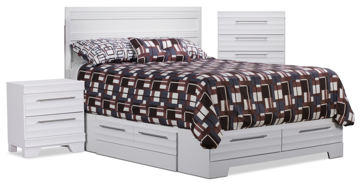 Bedroom Furniture - Olivia 5-Piece Full Storage Bedroom Package with Chest and Nightstand – White