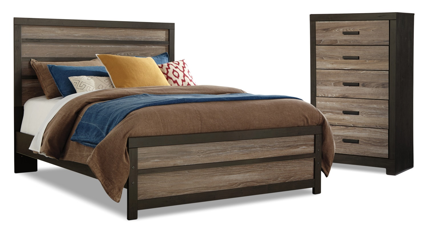 Harlinton 4 piece queen bed and chest package the brick for Bedroom furniture packages