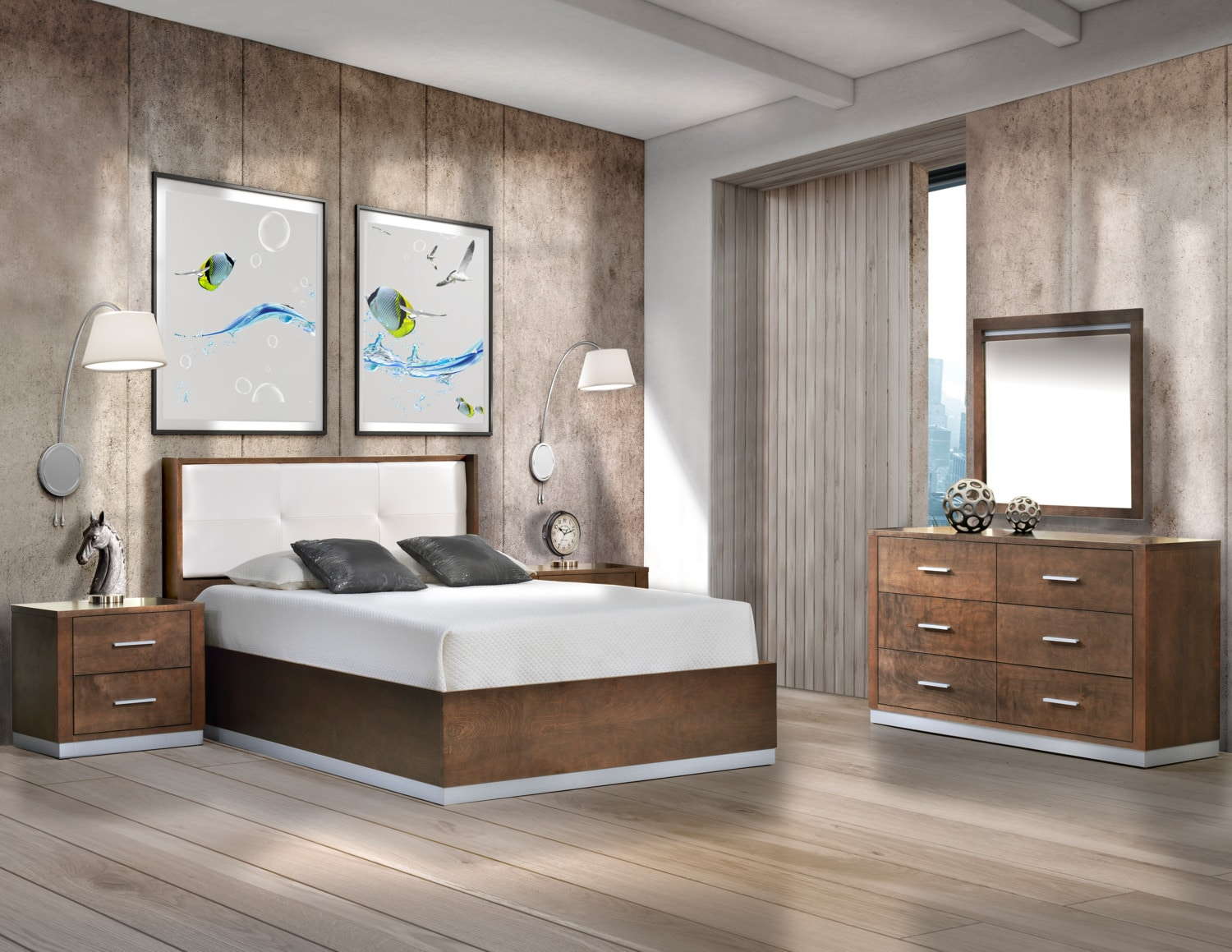 Levi chambre coucher 5 mcx grand noisette meubles l on for Leon meuble quebec