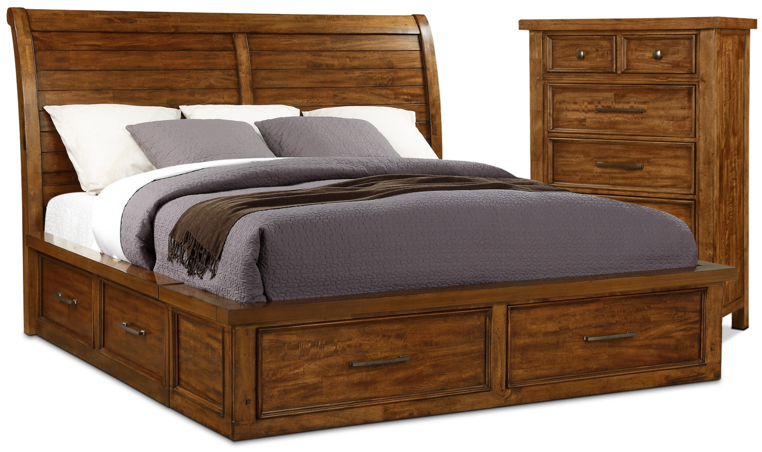Sonoma 4-Piece King Storage Bed and Chest Package – Medium Brown