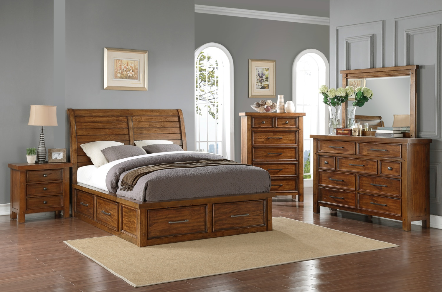 Sonoma Queen Storage Bed Medium Brown The Brick