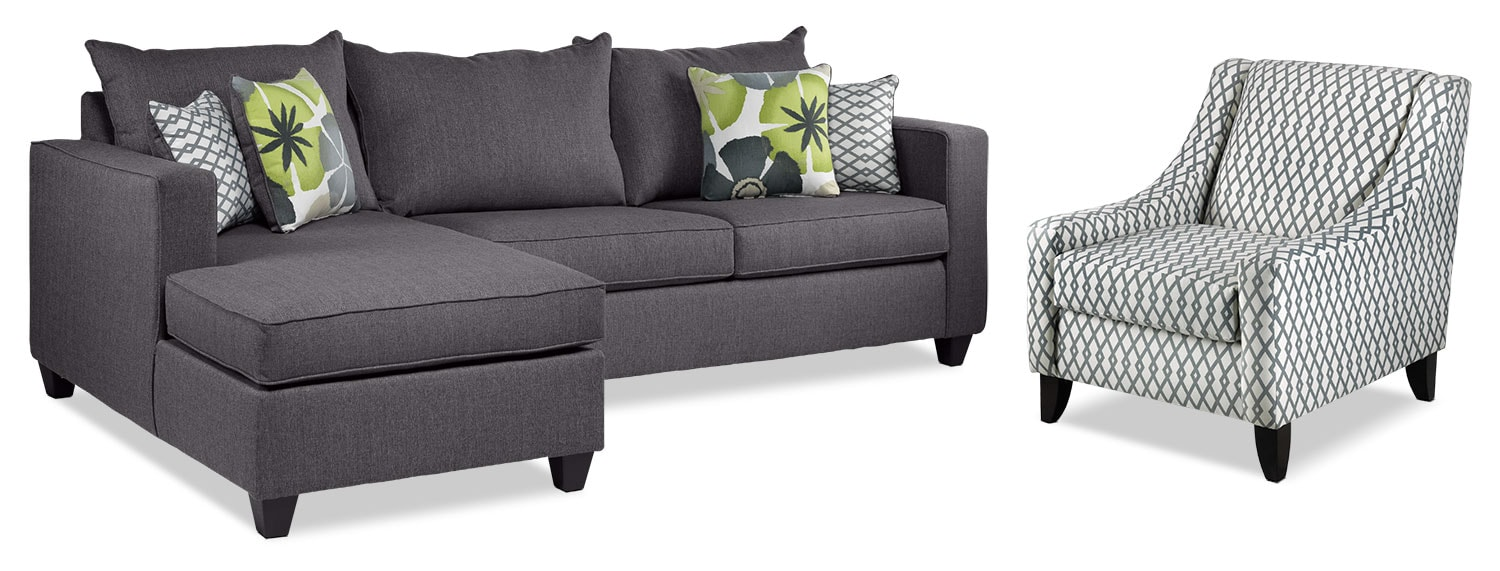 Living Room Furniture - Halley 2-Piece Full Sofabed Sectional with Left-Facing Chaise and Accent Chair Set - Slate
