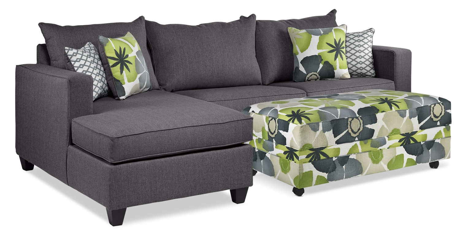 Living Room Furniture - Halley 2-Piece Full Sofabed Sectional with Left-Facing Chaise and Ottoman Set - Slate