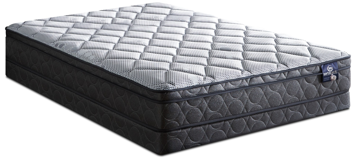Ensemble matelas ferme euro plateau luxury sertapedic for Matelas queen liquidation