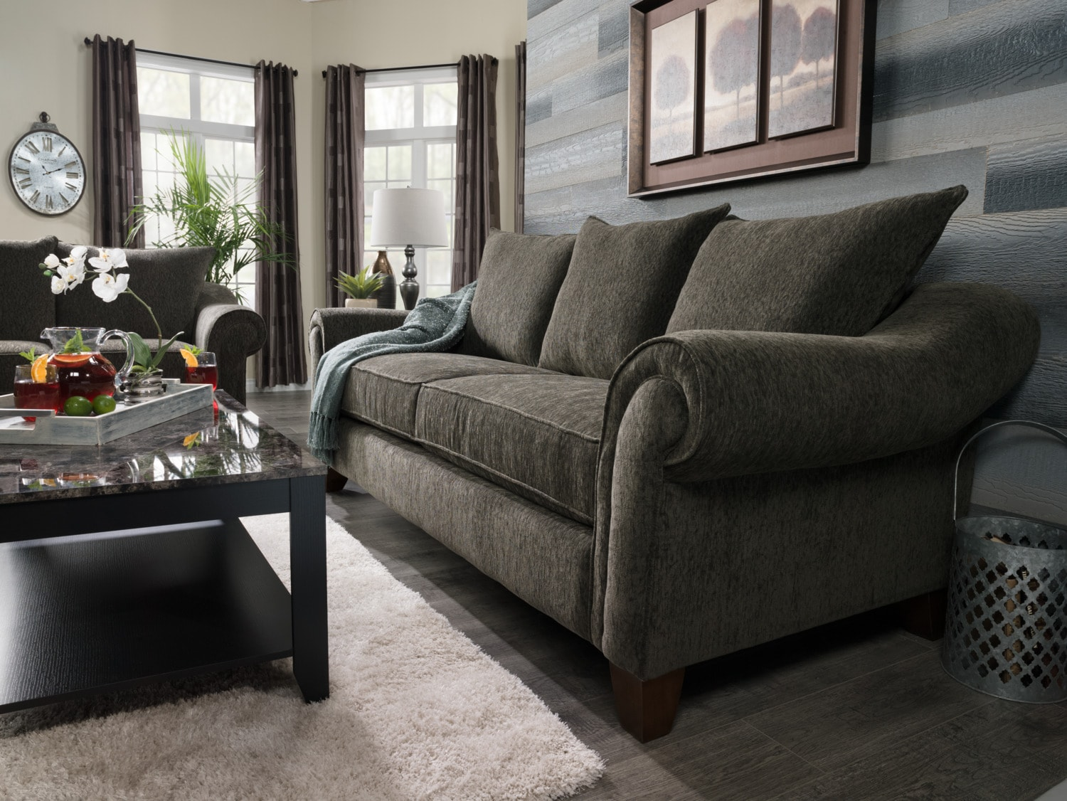 Reese chenille sofa dark grey the brick for Living room furniture rochester ny