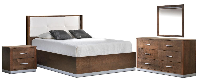 Levi chambre coucher 5 mcx tr s grand noisette for Meuble chez leon quebec